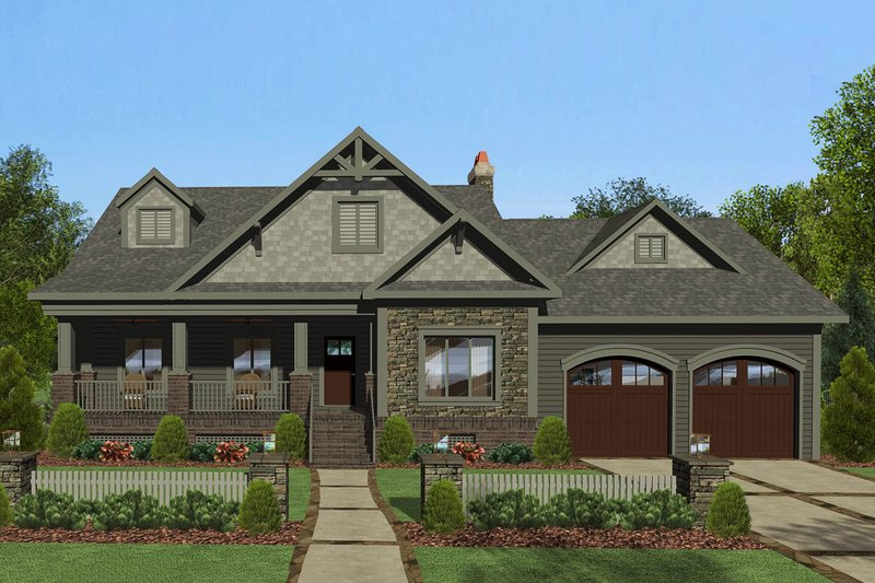 Craftsman Exterior - Front Elevation Plan #56-710
