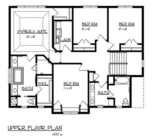 Craftsman Floor Plan - Upper Floor Plan Plan #320-486