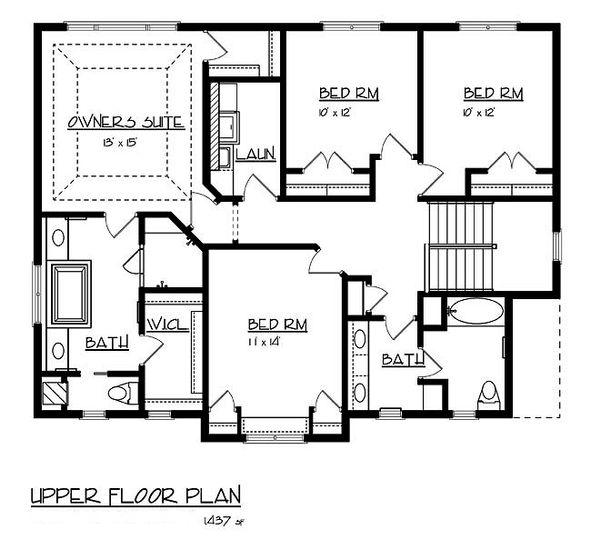 Craftsman Floor Plan - Upper Floor Plan Plan #320-486