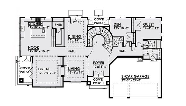 Contemporary Floor Plan - Main Floor Plan Plan #1066-22