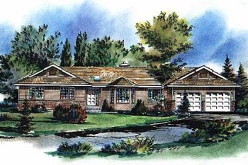 Ranch Style House Plan - 3 Beds 2 Baths 1480 Sq/Ft Plan #18-156 Exterior - Front Elevation