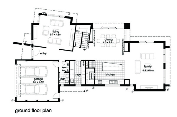 Modern style House plan, main level floor plan