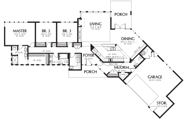 Contemporary Floor Plan - Main Floor Plan Plan #48-698