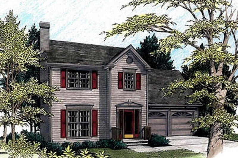 Colonial Exterior - Front Elevation Plan #56-120