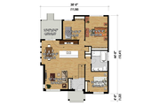 Contemporary Style House Plan - 3 Beds 1 Baths 1436 Sq/Ft Plan #25-4464 Floor Plan - Main Floor Plan