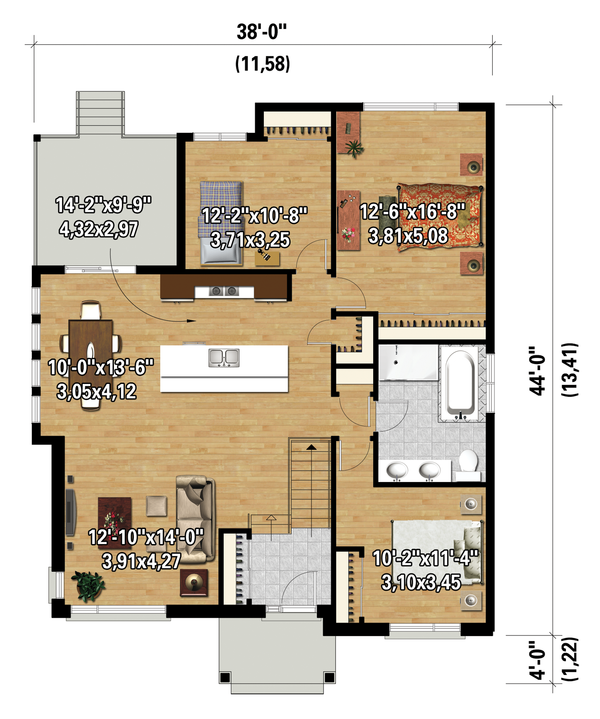 Contemporary Floor Plan - Main Floor Plan Plan #25-4464