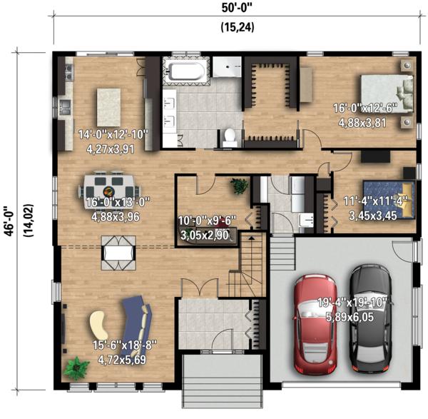 Contemporary Floor Plan - Main Floor Plan Plan #25-4332
