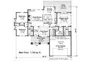 Craftsman Style House Plan - 3 Beds 2 Baths 1724 Sq/Ft Plan #51-521 Floor Plan - Main Floor