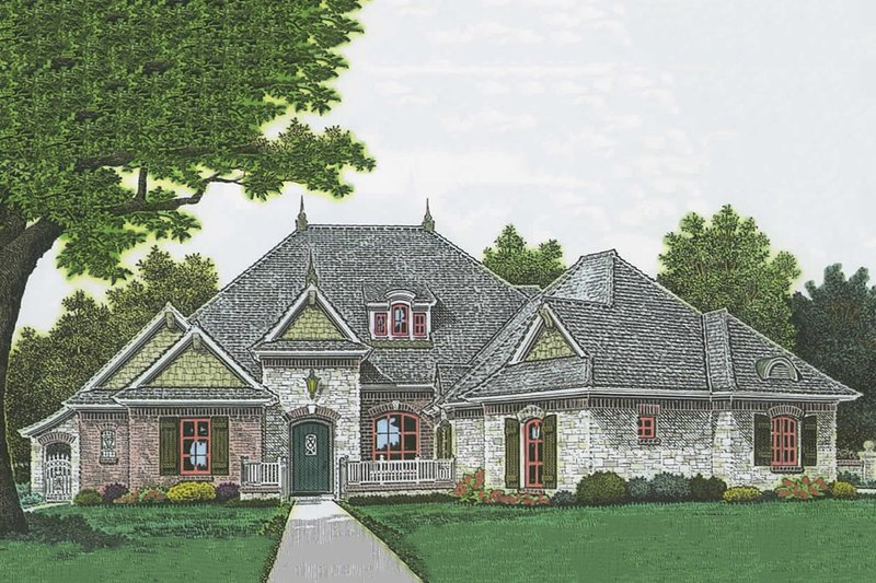 European Style House Plan - 3 Beds 2.5 Baths 2551 Sq/Ft Plan #310-986 Exterior - Front Elevation