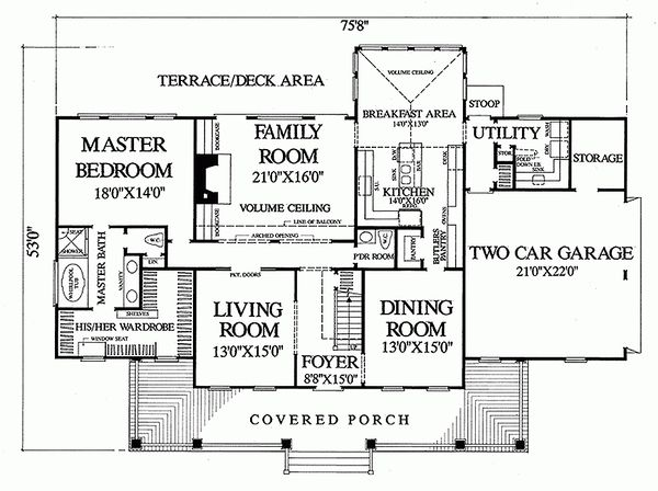 Main level floor plan - 3100 square foot Southern home