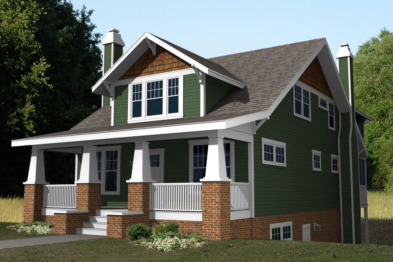 Craftsman Style House Plan - 4 Beds 3 Baths 2680 Sq/Ft Plan #461-36 Exterior - Front Elevation