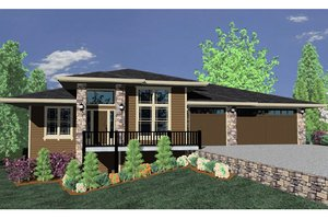 Prairie Exterior - Front Elevation Plan #509-14