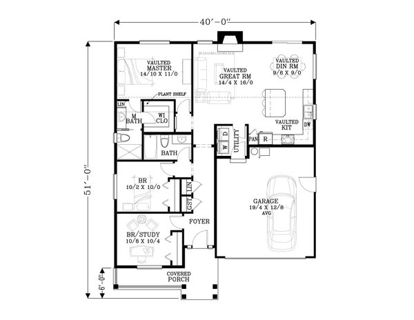 House Plan Design - Craftsman Floor Plan - Main Floor Plan #53-616