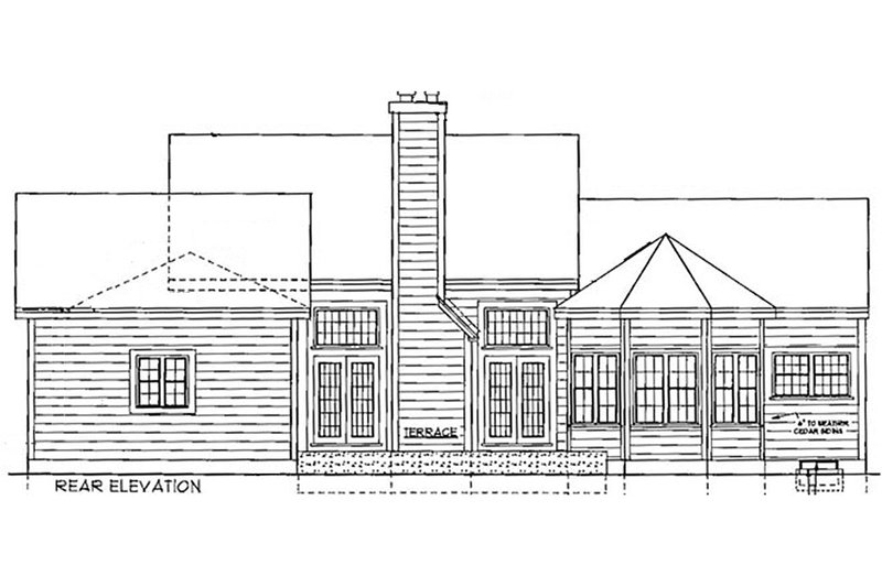 Country style home, farmhouse rear elevation