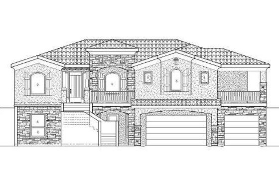 Adobe / Southwestern Exterior - Front Elevation Plan #24-280