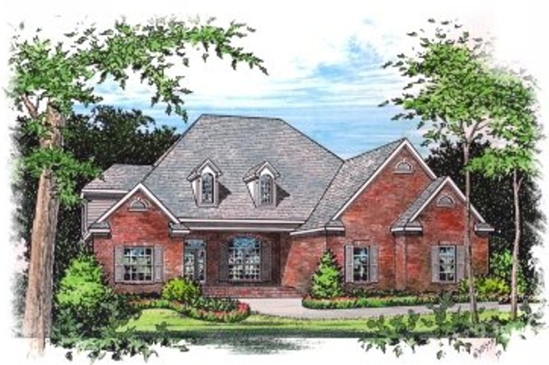 European Style House Plan - 4 Beds 4.5 Baths 3356 Sq/Ft Plan #15-258 Exterior - Front Elevation
