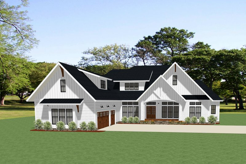Farmhouse Style House Plan - 3 Beds 2.5 Baths 2847 Sq/Ft Plan #898-48 Exterior - Front Elevation