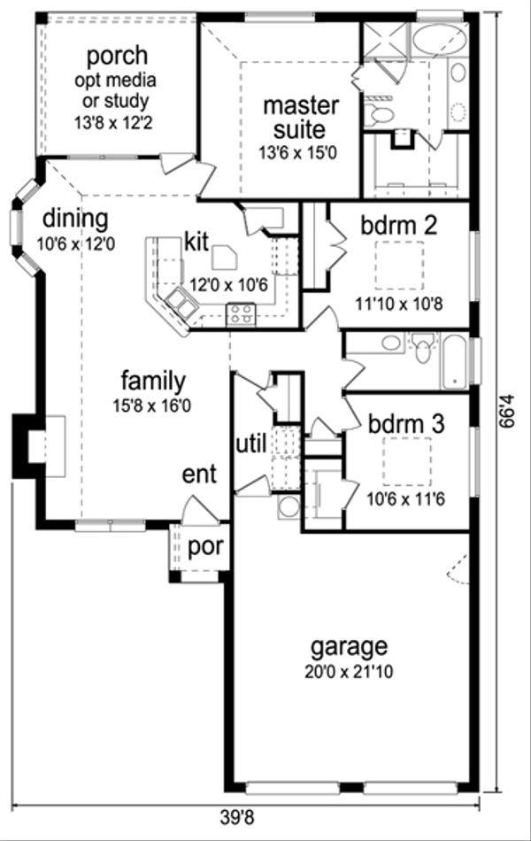 Home Plan Design - Traditional Floor Plan - Main Floor Plan #84-545