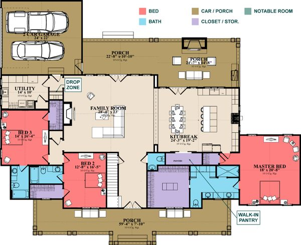 Architectural House Design - Farmhouse Floor Plan - Main Floor Plan #63-430