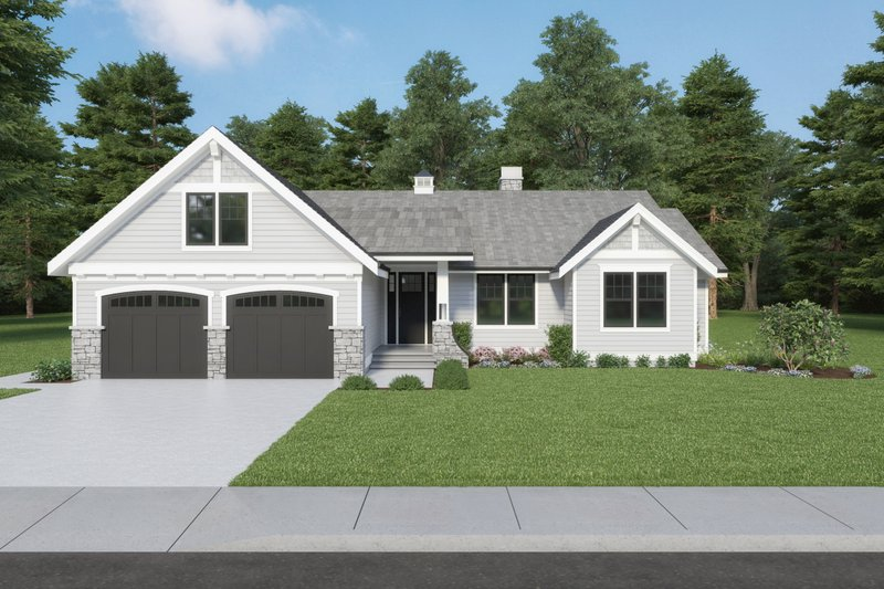 Dream House Plan - Craftsman Exterior - Front Elevation Plan #1070-114