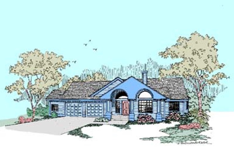 Traditional Style House Plan - 2 Beds 2.5 Baths 2189 Sq/Ft Plan #60-458 Exterior - Front Elevation