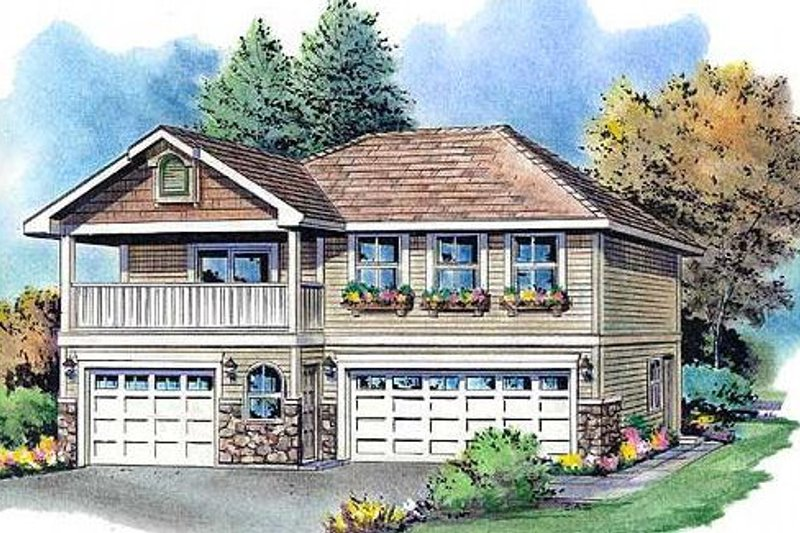 Traditional Style House Plan - 2 Beds 1 Baths 864 Sq/Ft Plan #18-9540 Exterior - Front Elevation