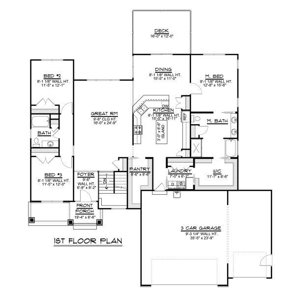 Home Plan - Ranch Floor Plan - Main Floor Plan #1064-41