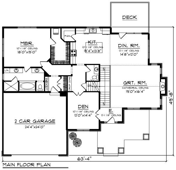 Craftsman Floor Plan - Main Floor Plan Plan #70-1280