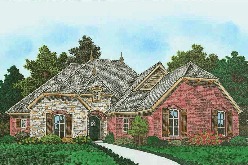 European Exterior - Front Elevation Plan #310-1300