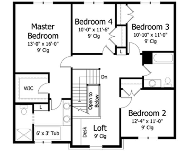 Traditional Floor Plan - Upper Floor Plan Plan #51-389