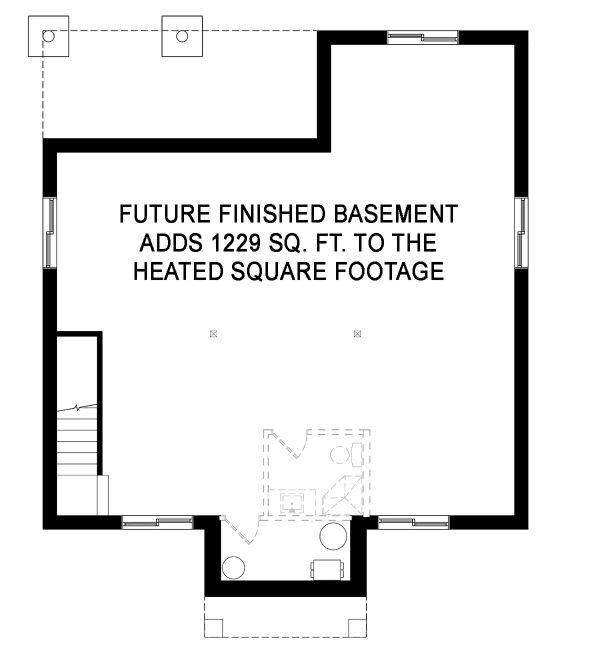 Farmhouse Floor Plan - Lower Floor Plan Plan #23-2716