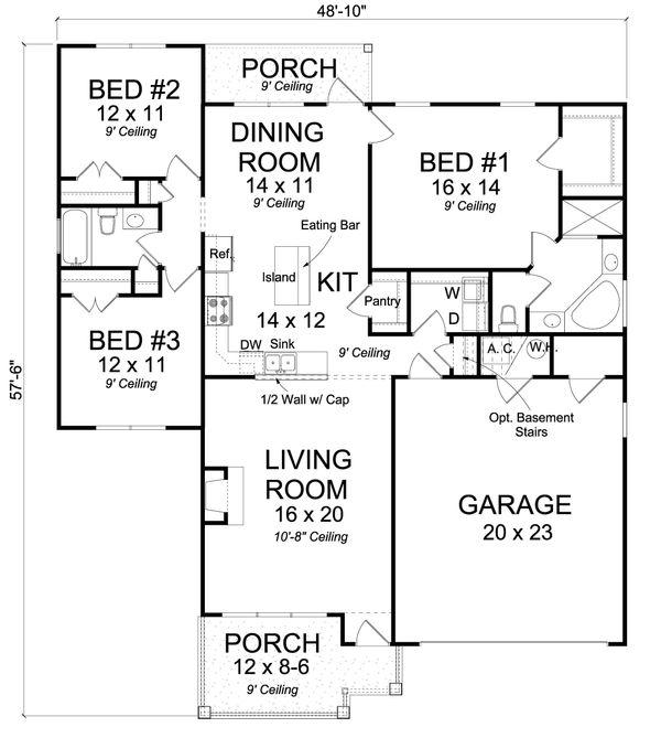 Dream House Plan - Cottage Floor Plan - Main Floor Plan #513-2089