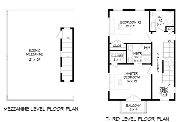 Contemporary Floor Plan - Upper Floor Plan #932-324