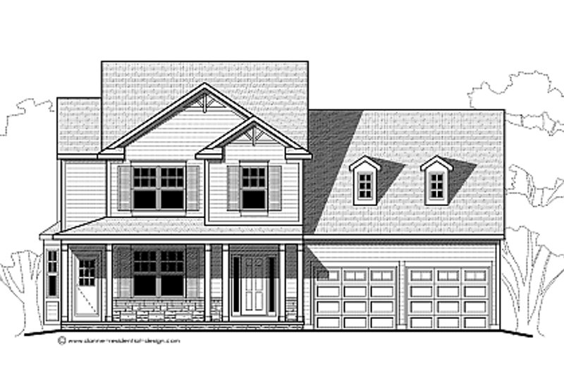 Traditional Style House Plan - 3 Beds 2.5 Baths 2092 Sq/Ft Plan #459-4 Exterior - Other Elevation
