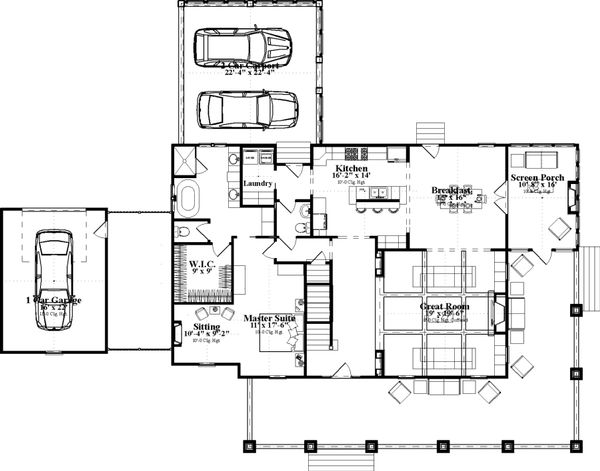 Country Floor Plan - Main Floor Plan Plan #63-409