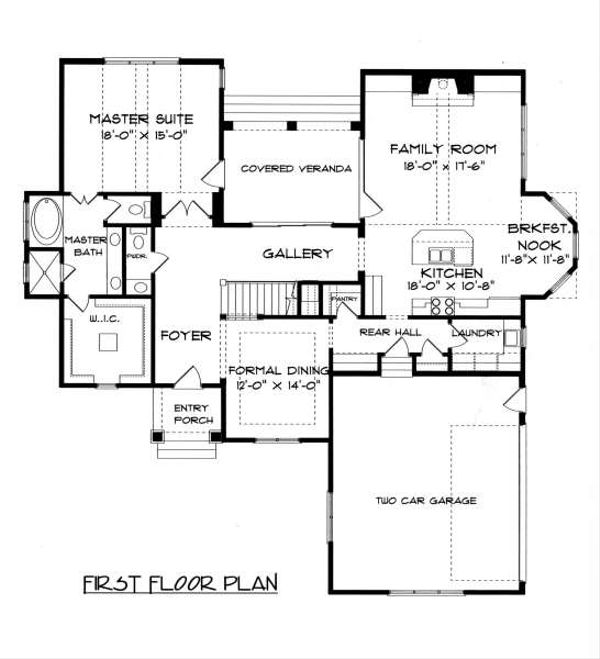 Tudor Floor Plan - Main Floor Plan Plan #413-140