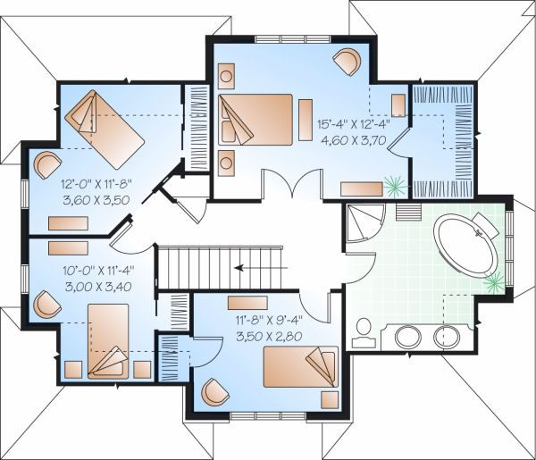 Traditional Floor Plan - Upper Floor Plan Plan #23-721