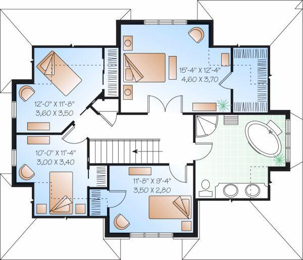 Traditional Floor Plan - Upper Floor Plan Plan #23-721