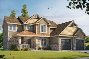 Craftsman Exterior - Front Elevation Plan #20-2084