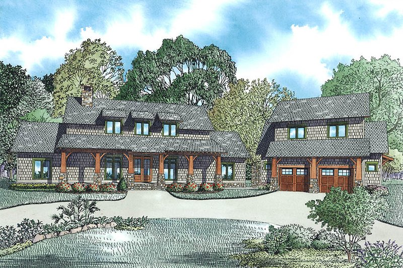 Craftsman Style House Plan - 5 Beds 4 Baths 2555 Sq/Ft Plan #17-2480 Exterior - Front Elevation