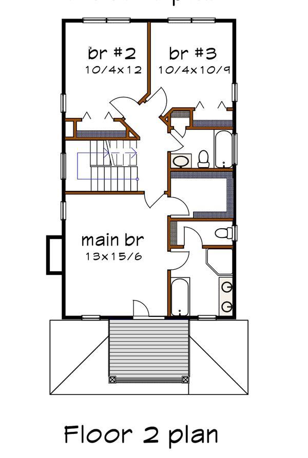 Southern Floor Plan - Upper Floor Plan Plan #79-227