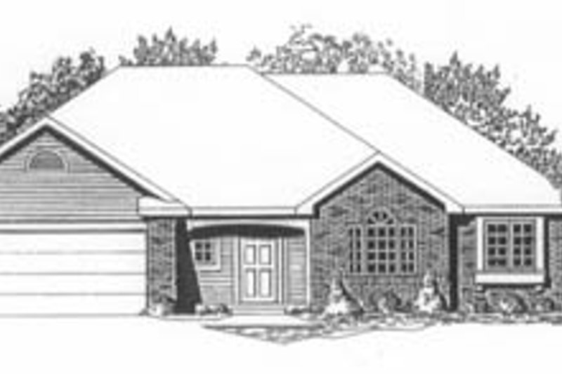 Traditional Style House Plan - 3 Beds 2 Baths 1406 Sq/Ft Plan #58-134 Exterior - Front Elevation