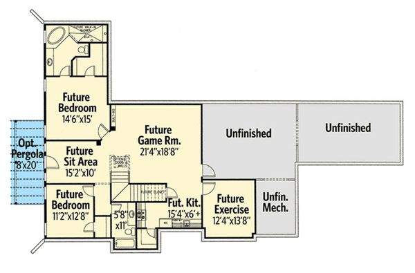 Craftsman Floor Plan - Lower Floor Plan Plan #437-74