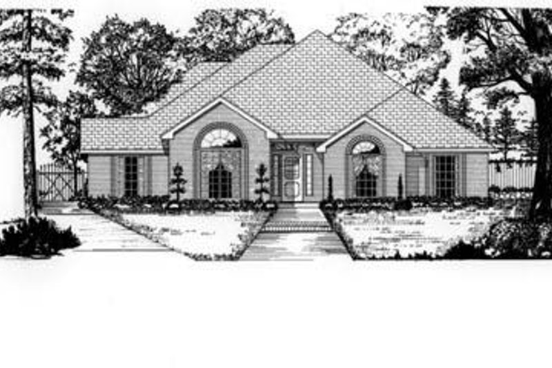 European Style House Plan - 4 Beds 2 Baths 2230 Sq/Ft Plan #62-110 Exterior - Front Elevation