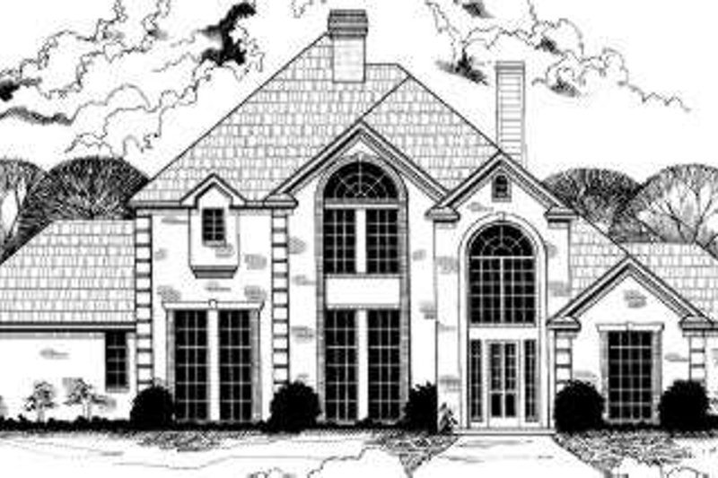 European Style House Plan - 5 Beds 3.5 Baths 3689 Sq/Ft Plan #317-126 Exterior - Front Elevation