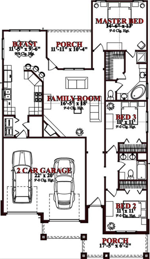 Traditional Floor Plan - Main Floor Plan Plan #63-237