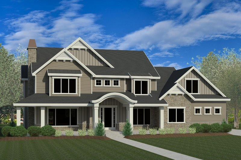 Craftsman Style House Plan - 5 Beds 4.5 Baths 5073 Sq/Ft Plan #920-8 Exterior - Front Elevation