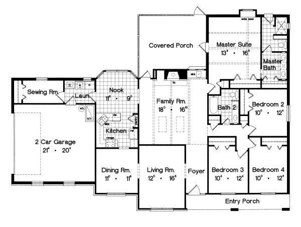 Traditional Floor Plan - Main Floor Plan Plan #417-209