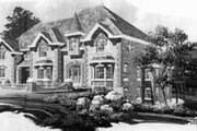 European Style House Plan - 4 Beds 3.5 Baths 4062 Sq/Ft Plan #308-104 Exterior - Front Elevation