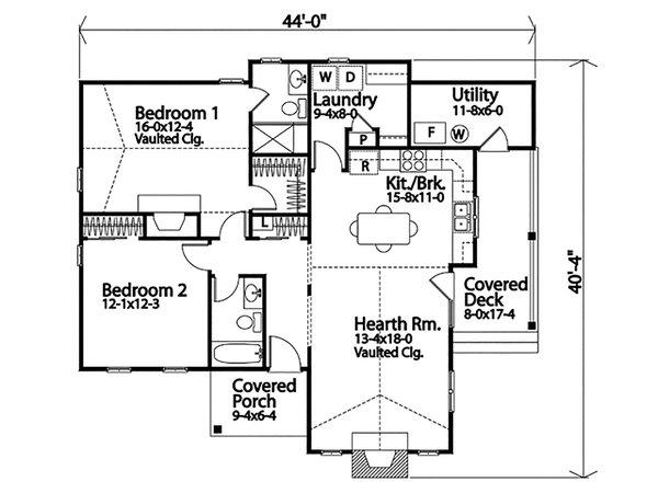 Dream House Plan - Cottage Floor Plan - Main Floor Plan #22-592